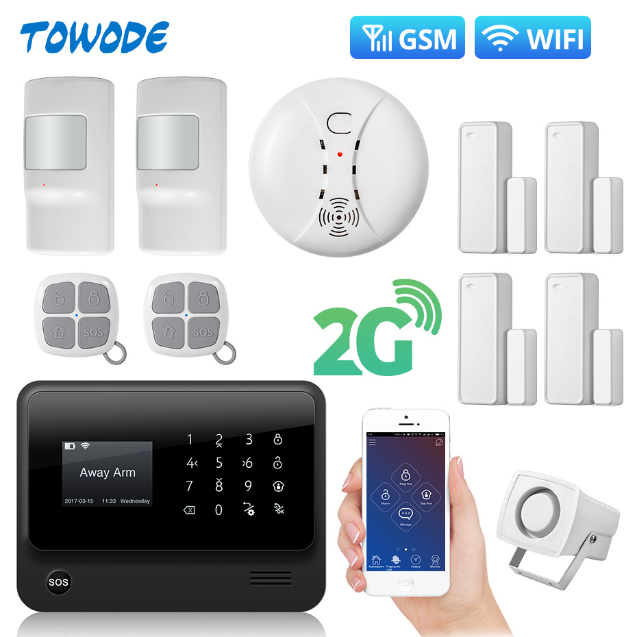 Towode G90B Plus WiFi 2G GSM WCDMA <font><b>Wireless</b></font> Home Security <font><b>Burglar</b></font> <font><b>alarm</b></font> <font><b>System</b></font> with Smoke Detector image