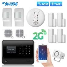 Towode G90Bプラスwifi 2 グラムgsm wcdmaワイヤレスホームセキュリティ盗難警報システム煙検出器