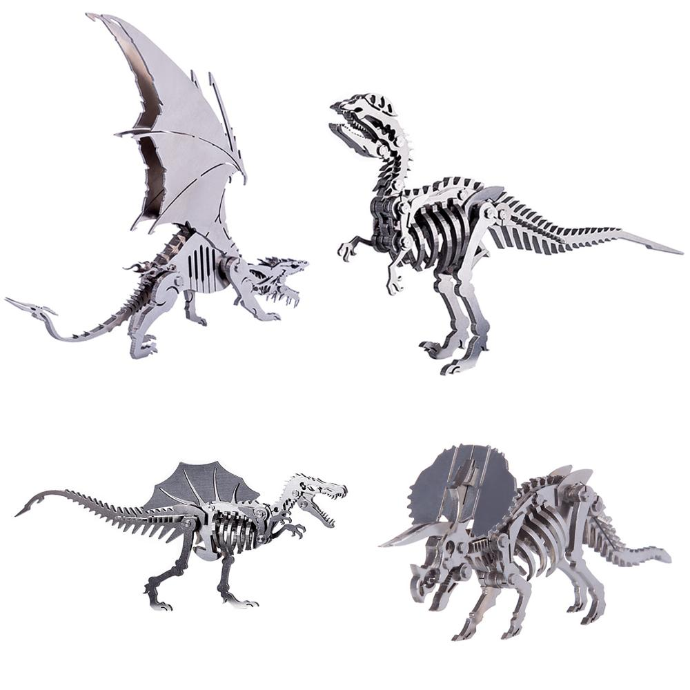 DIY Assembled Model Kit 3D Stainless Steel Detachable Model Puzzle Ornaments - Ice Dragon Spinosaurus Tyrannosaurus With Stand