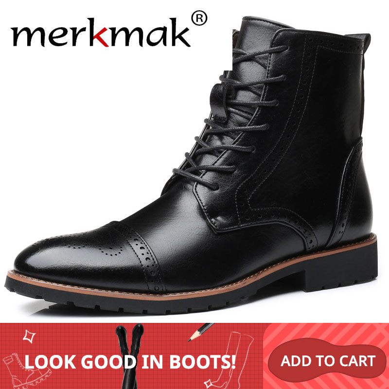Merkmak New Snow Men Leather Boots Winter Men's Business Casual Boot Outdoor Lace Up Shoe For Male Black Man Footwear Flat