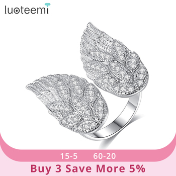 LUOTEEMI Design Adjustable Open Ring for Women Party or Dating Shiny CZ Fashion Wing-shaped Female Anillos Mujer Christmas Gift 1