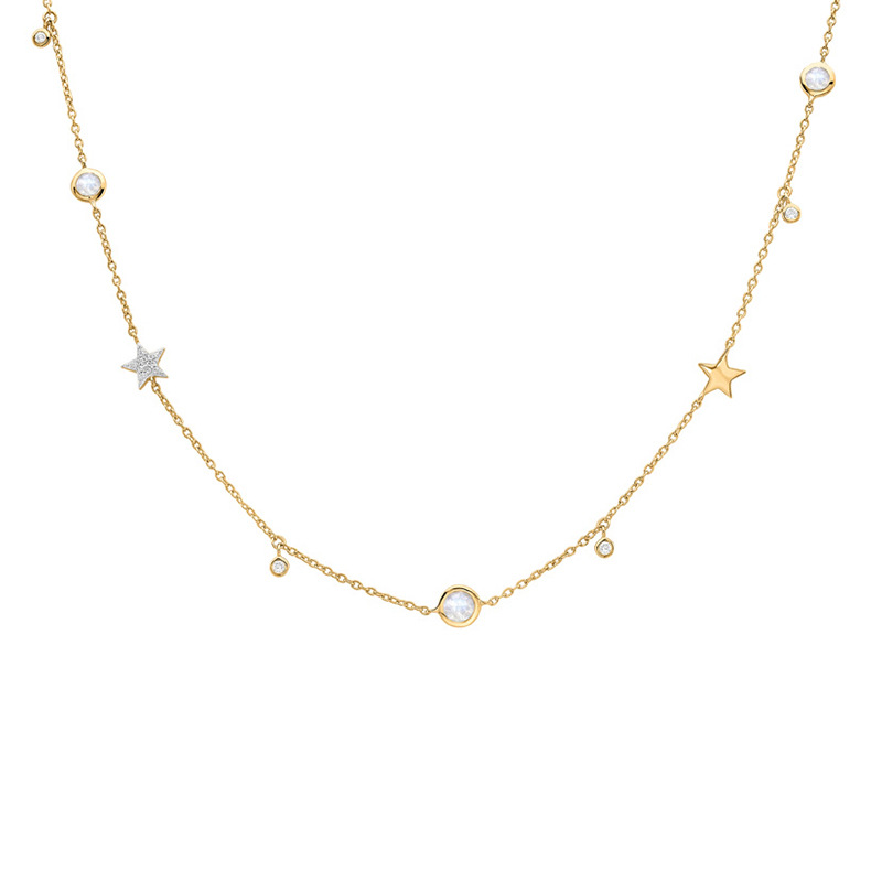 1pc Authentic 925 Sterling silver Gold Star &Round CZ Statement Station pendant choker short charm necklace FINE jewelry X152