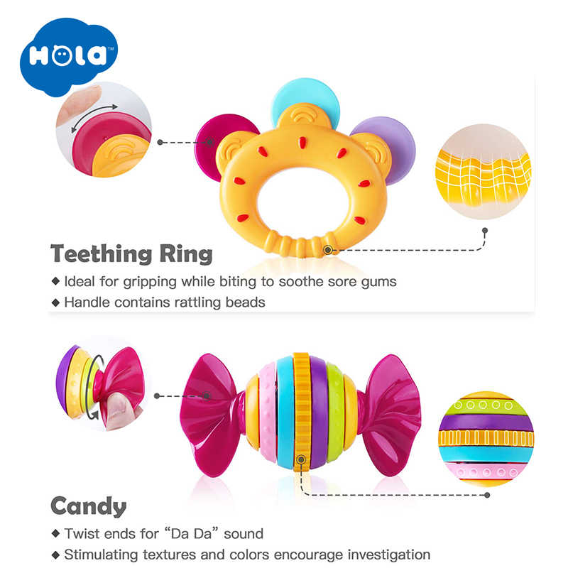 Hola 939 Bayi Rattle Mainan untuk Bayi Baru Lahir 0-12 Bulan Plastik Mainan Kerincingan untuk Bayi 13 24 Bulan Mainan Mainan anak-anak Awal Mainan Pendidikan