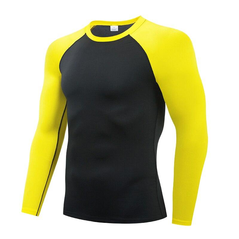 Yellow  Running t shirt Men's Rashgard Long Sleeve Gym Shirt Sportswear Compression Dry Fit shirts Men Fitness Sport T-Shirts
