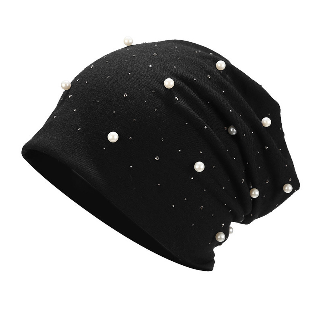 Fashion Pearl Hats Women Winter Knitted Caps Soft Beanie Women's Hat Female Cap Girls Skullies Beanies gorros mujer invierno