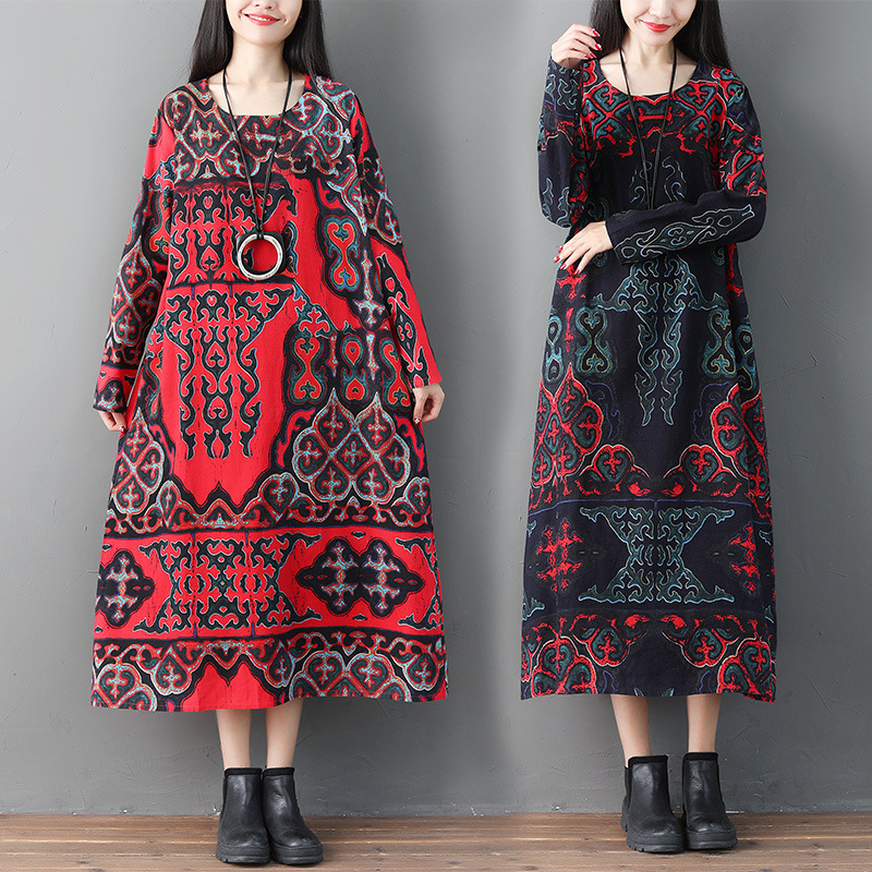 Ethnic-Style Printed Crew Neck Long Sleeve Cotton Linen Dress WOMEN'S Dress Loose And Plus-sized Long Skirts 2019 Spring New Sty