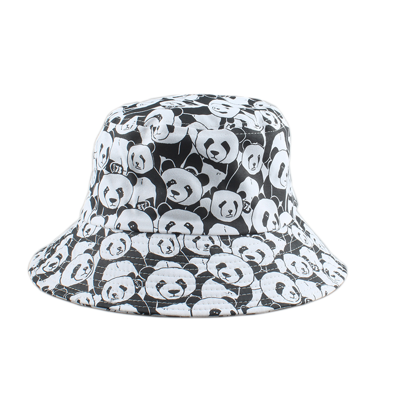 New Cartoon Panda Funny Bucket Hats For Men Women Cotton Panama Fisherman Hat Summer Lovely Outdoor Fishing Cap