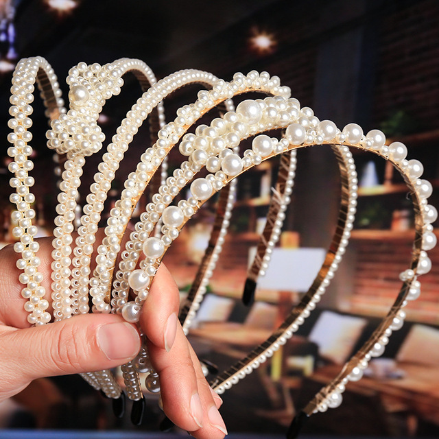 2020 New Luxury Big Pearl Hairbands Women Bow Sunflower  Hair Hoops Girls Hair Accessories Fashion Jewelry Headband