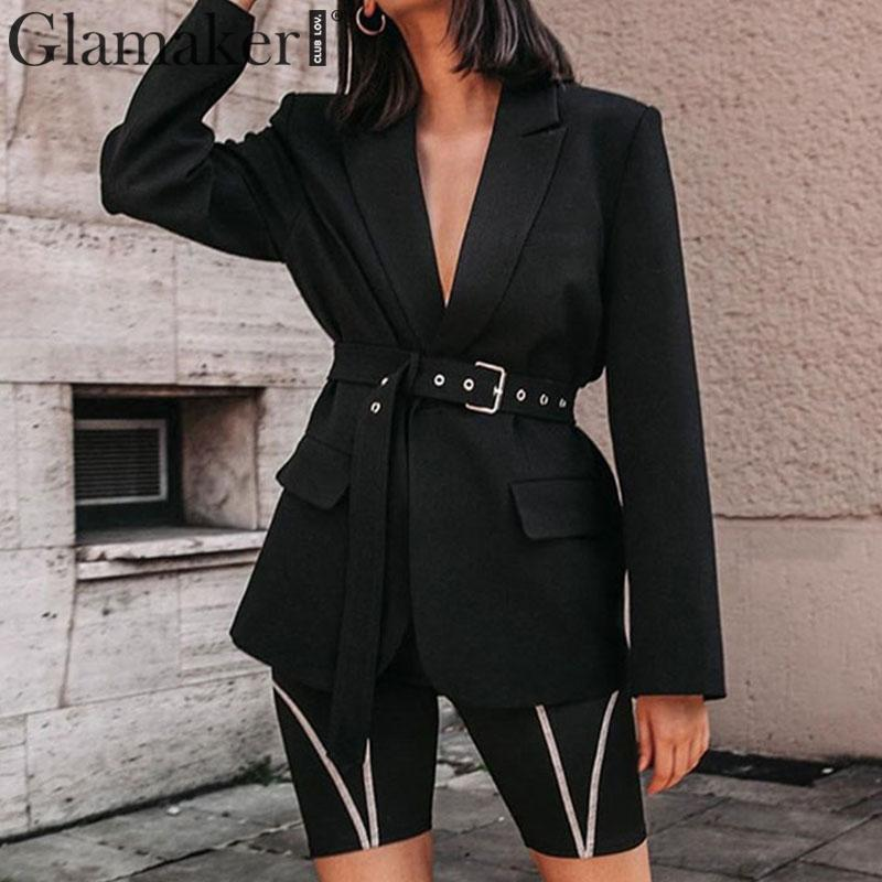 Glamaker Black Turndown Collar Blazer Women Long Sleeve Pocket Belt Elegant Suit jacket Female Autumn Winter Sexy Outwear Blazer
