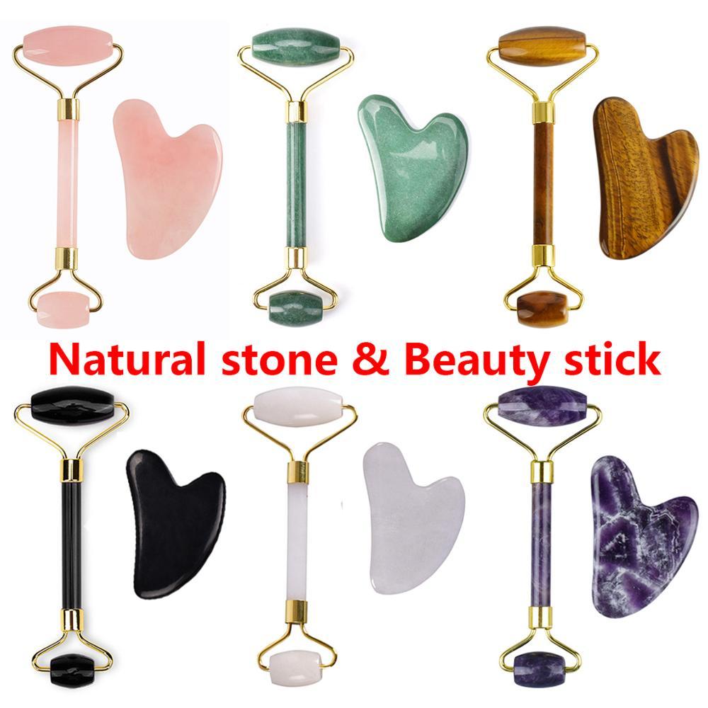 Rose Quartz Massage Roller Gouache Scraper For Facical Massage 100% Natural Jade Guasha Scraper Face Massage Roller For Woman