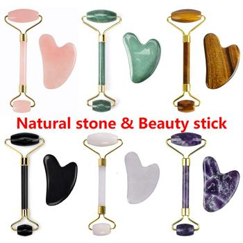 Rose Quartz Massage Roller Gouache Scraper For Facical Massage 100% Natural Jade Guasha Scraper Face Massage Roller For Woman