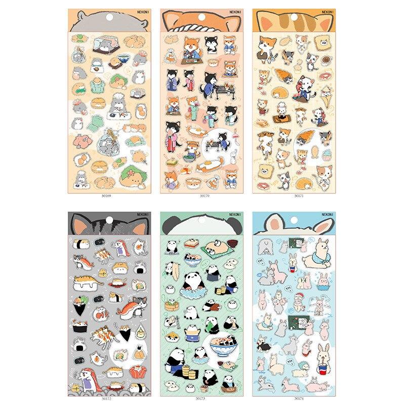 Korean Import Brand Nekoni Shiba Alpaca Cat Hamster Stickers Scrapbooking Diy Bullet Journal Diary Stationery Sticker Kawaii