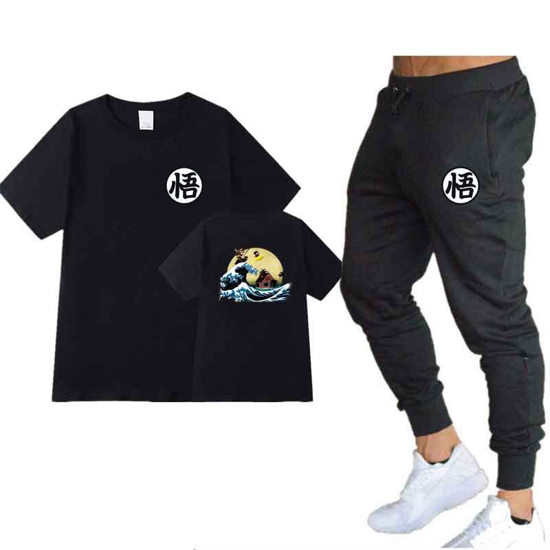 Men's Sets T Shirts+pants Two Pieces Sets Casual Tracksuit Men Dragon Ball Son Goku Tshirt Printing Suits Sportwear Gyms Trouser