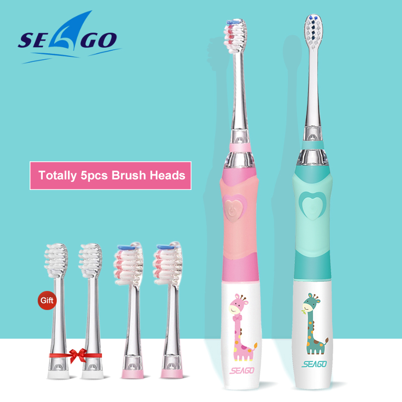 SEAGO Kids Toothbrush Electric Colorful Sonic Toothbrush for 3-12 years old Smart Timer Tooth Brush with 5 Replacement Nozzles image