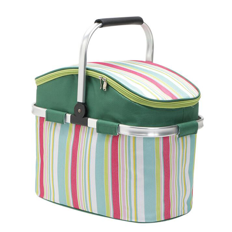 Foldable Oxford Shopping Basket Cooler Bags Insulated Picnic Handbag Tote For Outdoor BBQ Holiday Parties Lunch Storage Bag