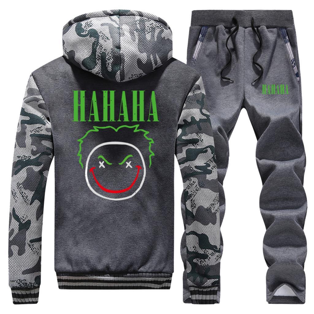 Winter Two Piece Suit Clothes Sets Men Bat Joker Gotham Print Joker Mens Sports Suits Male Tracksuit Street Trousers Jacket Zip