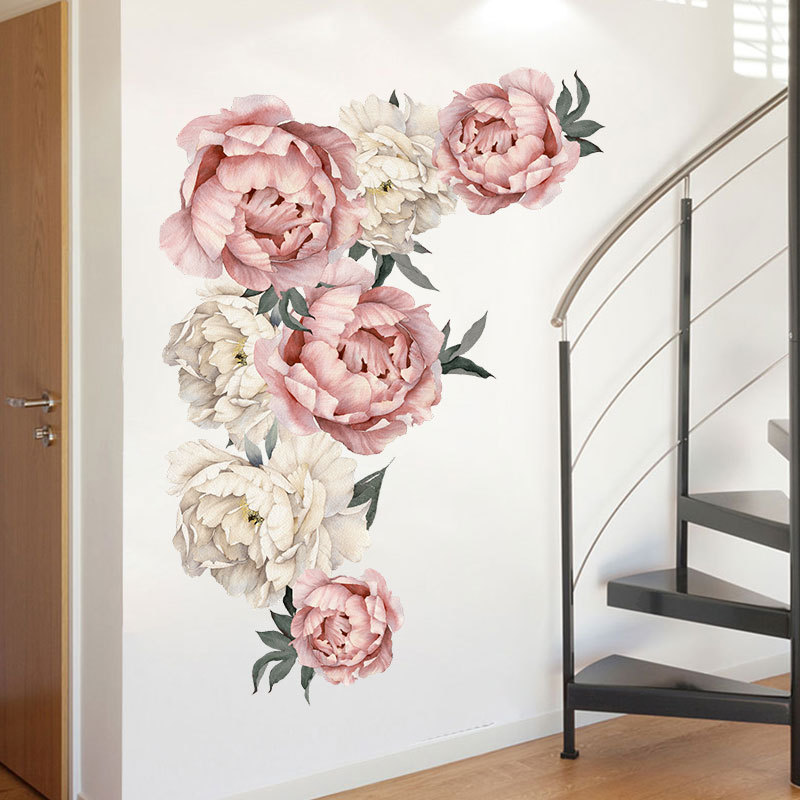 71.5x102cm Large Pink Peony Flower Wall Stickers Romantic Flowers Home Decor for Bedroom Living Room DIY Vinyl Wall Decals 2
