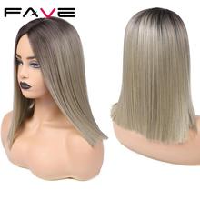 FAVE Ombre Brown Blonde black Pink Wigs Straight Shoulder Length Bob Synthetic Hair Middle Part Daily Cosplay For Black Women