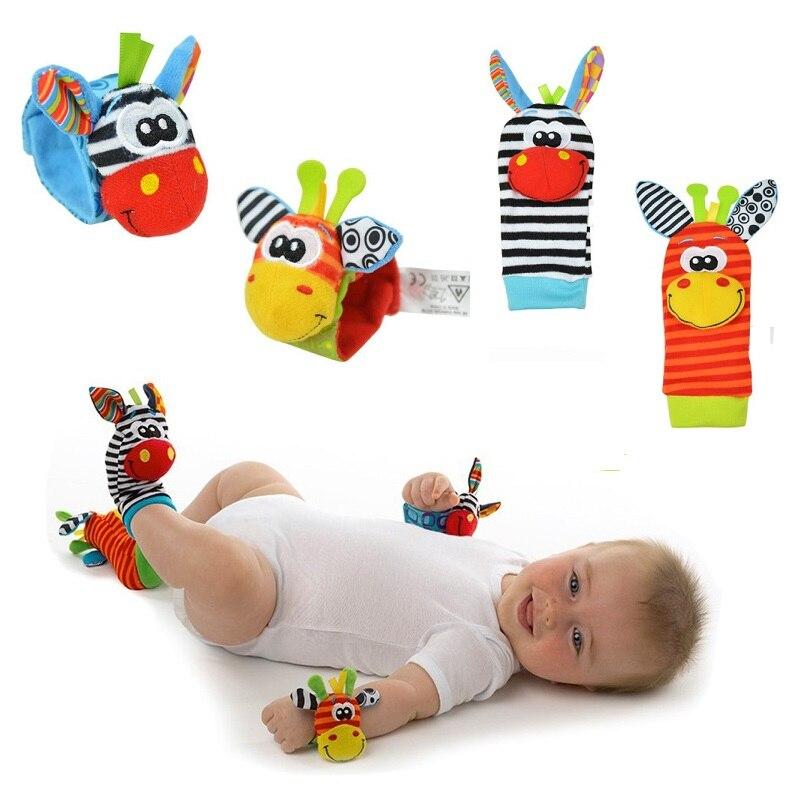 Baby Rattles Socks Set Cute Animal Infant Baby Kids Socks Rattle Toy Wrist Rattle Newborn Rattles Plush Foot Finder Sock 12Month