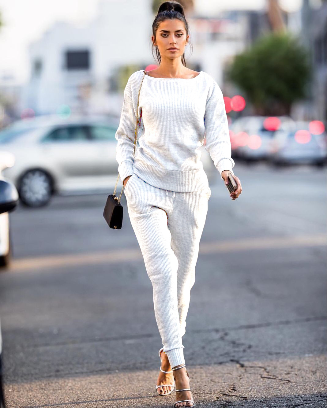 European and American women's autumn and winter models urban casual fashion temperament popular solid color two-piece