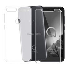 For Alcatel 1S 2019 Cover + Screen Protector Tempered Glass Protective Film For