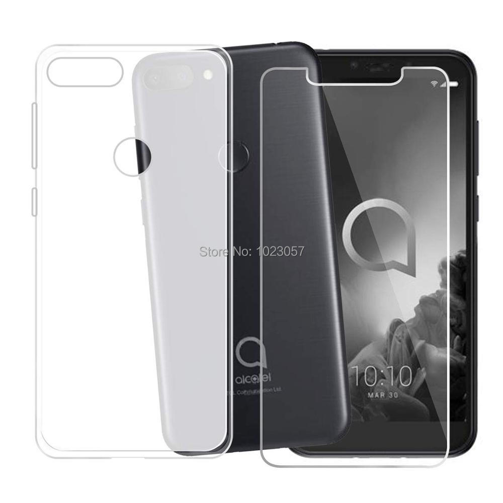 For <font><b>Alcatel</b></font> <font><b>1S</b></font> 2019 Cover + Screen Protector Tempered Glass Protective Film For <font><b>Alcatel</b></font> <font><b>1S</b></font> 2019 1 S 5024D 5024Y 5024K <font><b>5024</b></font> D Y image