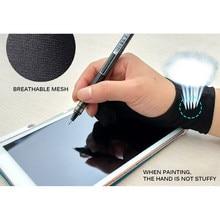 Anti-incrustação de dois dedos artista anti-toque luva para desenho tablet mão direita e esquerda luva anti-incrustação para tela ipad