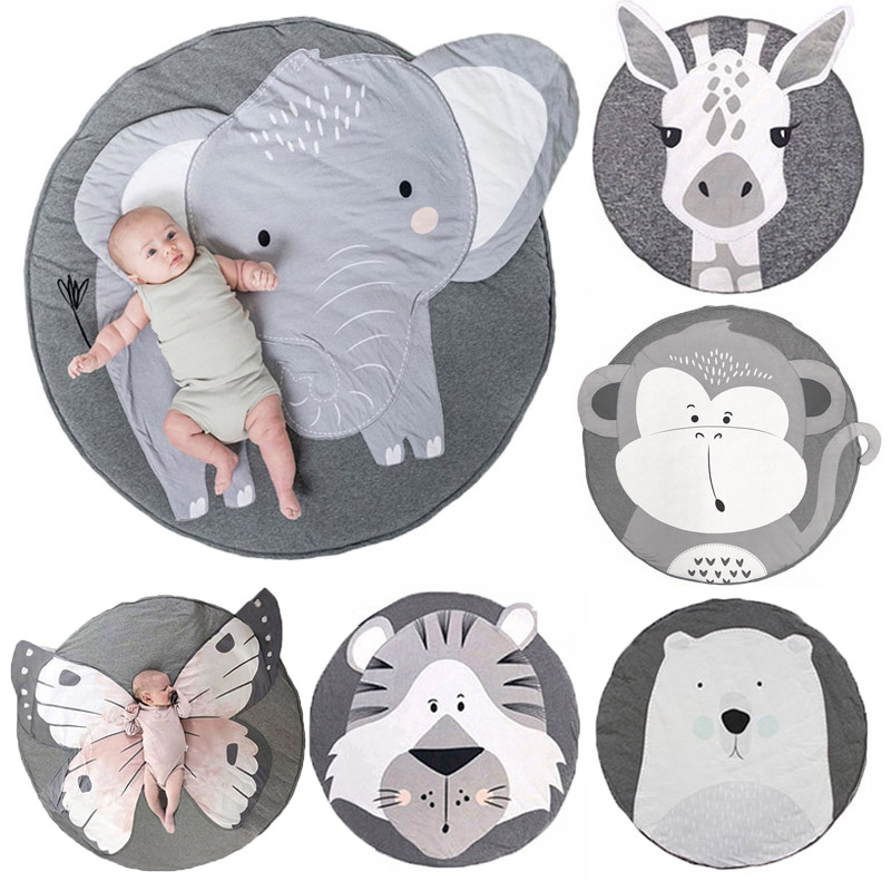 90CM Baby Play Mat Cartoon Animal Soft Cotton Padded Carpet Rugs Newborn Infant Crawling Blanket Pad Room Decoration Kids Gift
