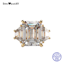 Shipei Natural Moissianite Rings for Women 100% 925 Sterling Silver Emerald Cut Gemstone Wedding Engagement Ring Fine Jewelry leige jewelry natural green amethyst ring cushion cut engagement promise rings for women green gemstone fine jewelry