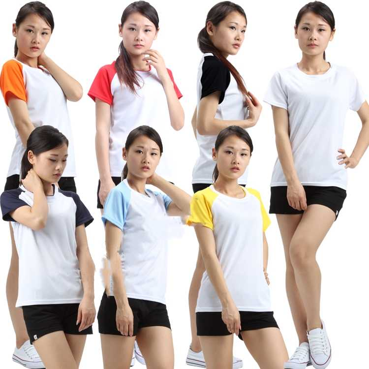 5pcs/lot Thermal transfer sublimation special pure color blank T shirt color rapid dry mesh polyester sports fabric women's wear