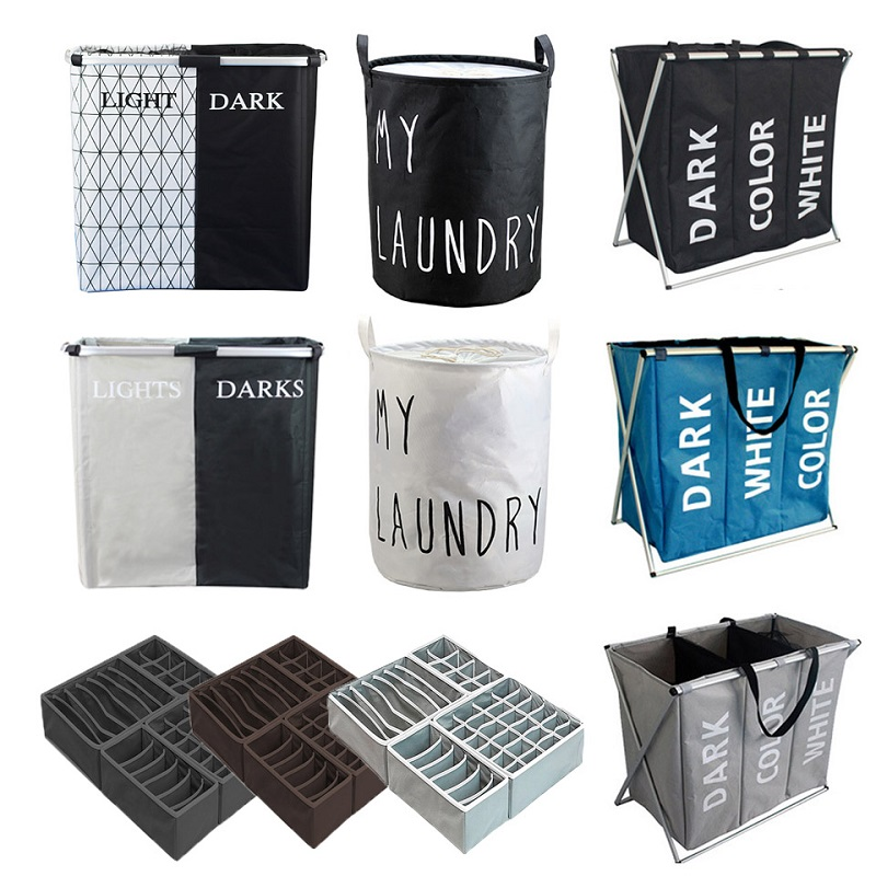 Folding Storage Basket Dirty Clothes Collecting Case Laundry Bag With 3 Grid Section Large Capacity Storage Box Toys Organizer