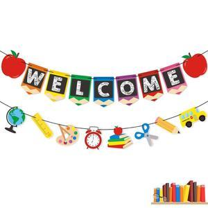 Баннер на день рождения, флаг, добро пожаловать, вешалка, дверной знак для детского душа, вечерние бумажные гирлянды, вечерние принадлежност...