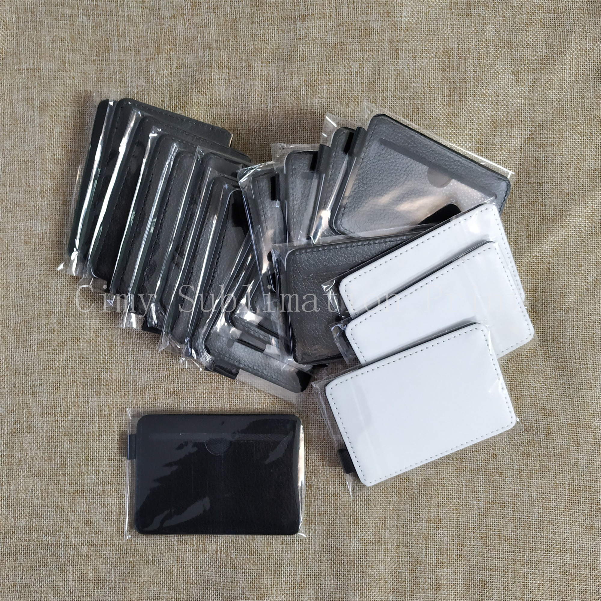 Free Shipping 12pcs/lot Blank Sublimation Leather Card Bag Holder For Heat Transfer Printing Blank Consumables DIY 7x11cm