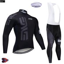2019 Cycling Jersey Black Winter Fleece Racing Team Long Sleeve Cycling Pad 16D MTB Bike Bicycle Jersey Cycling Clothing Sets цена