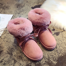 Warm Plush Slip On Fur Boots 2019 New Women Snow Platform Fashion Ankle Pink Brown