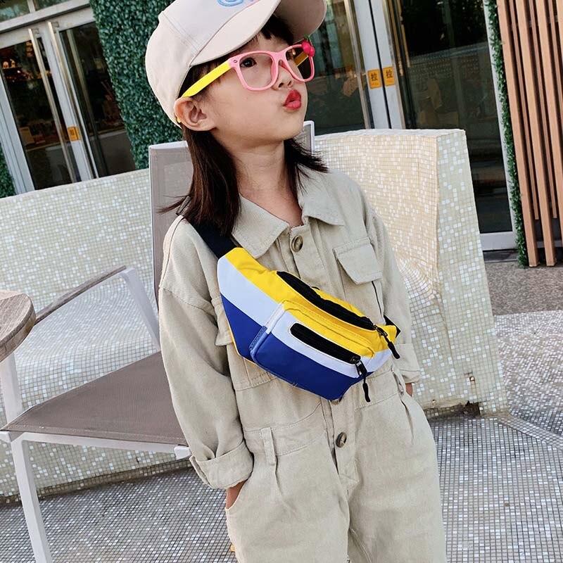 New Child Waist Bag For Kids Canvas Chest Bag Girl Belt Pack Splice Sports Bag High Capacity Kidney Banana Bags Crossbody Bags