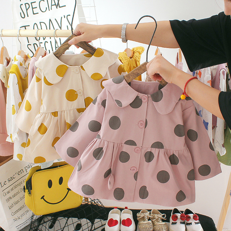 Doll Long Sleeve New Infant Windbreaker Coat Kids Sweet Jacket Autumn Children Thin Coat Baby Solid Color Girl Outewear
