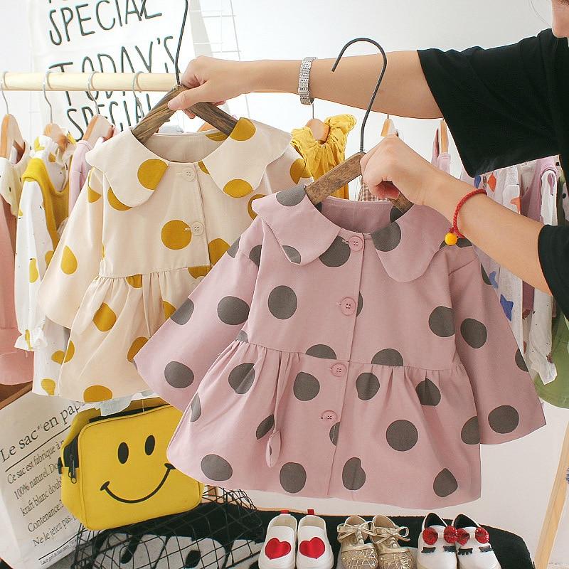 Doll Long Sleeve New Infant Windbreaker Coat Kids Sweet Jacket Autumn Children Thin Coat Baby Solid Color Girl Outewear