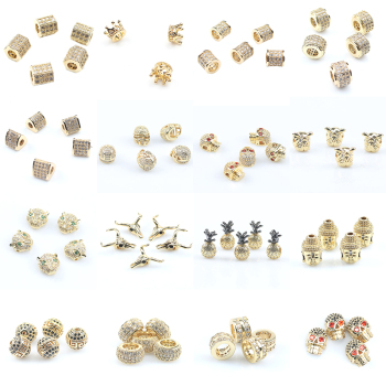 3pcs/lot CZ Spacer Beads Gold Plated Brass Micro Pave Cubic Zirconia Beads for Jewelry Making Diy Bracelet Necklace Accessories