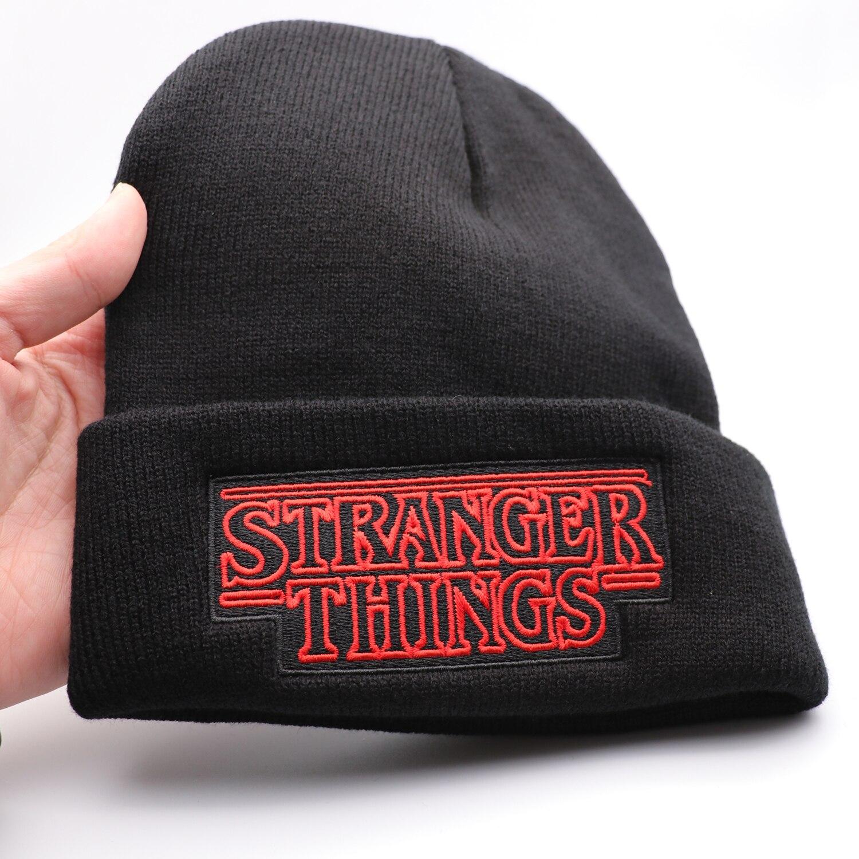 Sombrero bordado de Stranger Things, gorra de lana negra que mantiene el calor, regalo de otoño e invierno, novedad