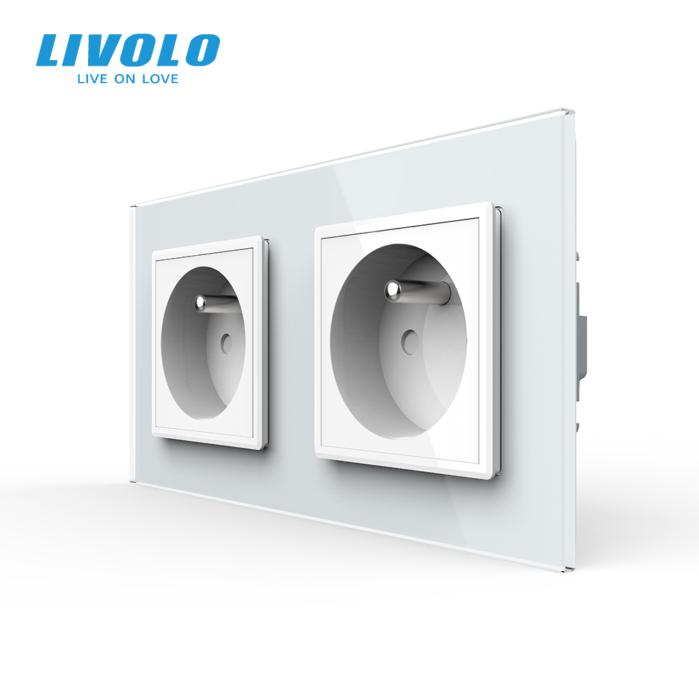 LIVOLO 16A French Standard Wall Electric   Power Double Socket   Plug Crystal Glass PanelC7C2FR-11 12 13 15 no logo