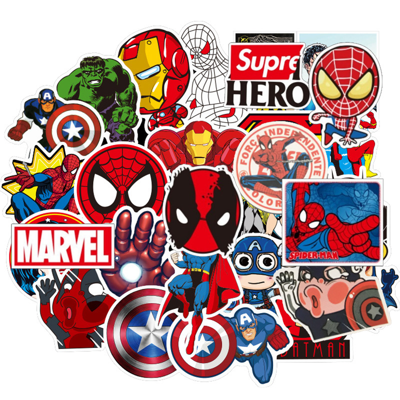 50 Pcs Cute Waterproof  Stickers For MARVEL Graffiti Sticker For Skateboard Luggage Laptop Notebook Guitar Car