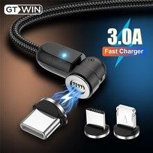 Gtwin 3a carga rápida magnético usb cabo 540 girar ímã carregador 2m para iphone xiaomi samsung micro usb tipo c cabo de dados fio