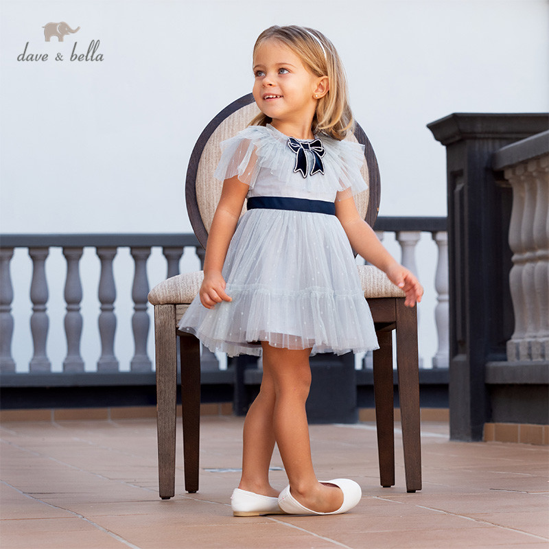 DB13090 Dave Bella Summer Baby Girl's Princess Bow Solid Mesh Dress Children Party Fashion Dress Kids Infant Lolita Clothes