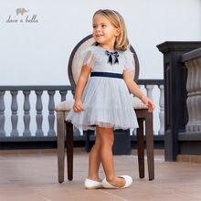 Db13090 dave bella vestido de verão, bebê, menina, princesa, laço, cor sólida, malha, crianças, festa, vestido, infantil, roupas pirita