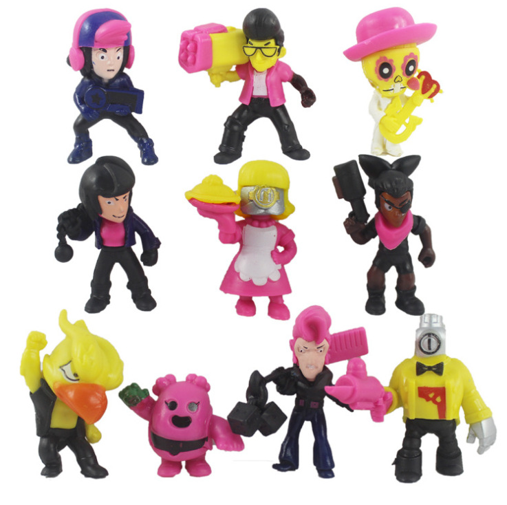 Brawl Game Cartoon Dolls Star Hero Action Figure Model Toy Spike Shelly Leon PRIMO MORTIS Crow Anime Game Figure Doll 5-11cm