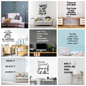 Motivation Vinyl Wall Decals Dream Quotes Wall Sticker For Office Room House Decor Decal Mural Living Room Decor Stickers holy buddha stickers religion vinyl wall sticker for living room decal decor mural bedroom wall art decals muurstickers wl2025