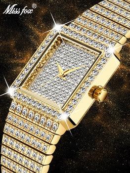 MISSFOX 18K Gold Women Watch Luxury Brand Square Ladies Quartz Wristwatches Hip Hop Iced Out Dress Female Diamond Golden Clock