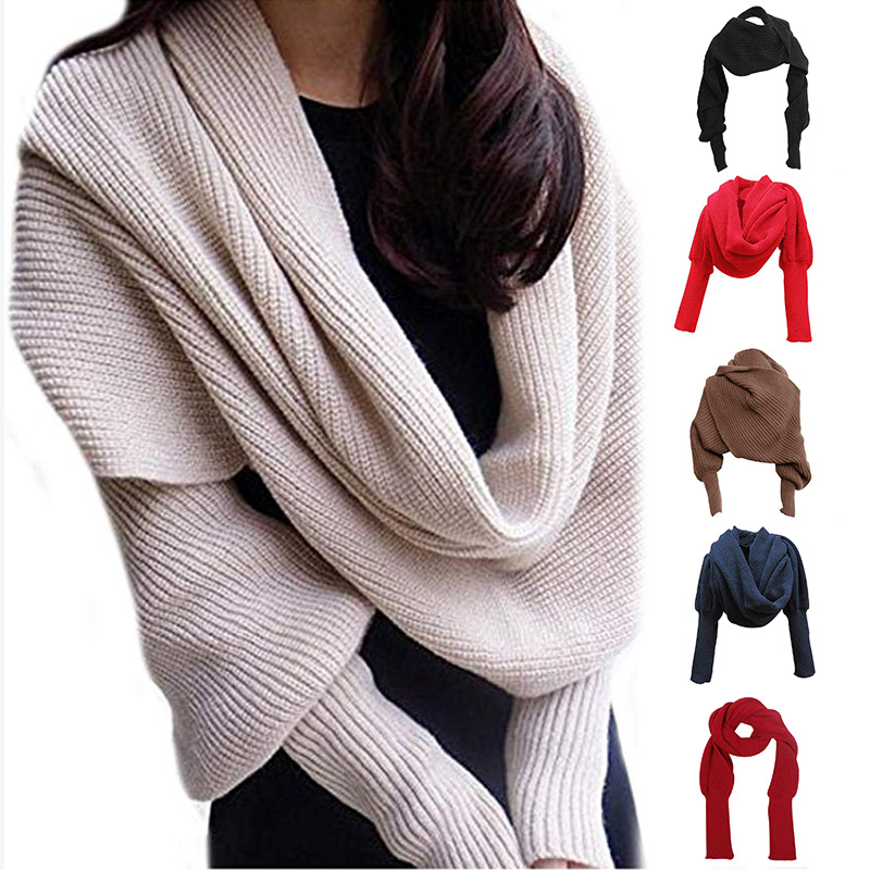 High Unisex Fashion Knitted Scarf With Sleeves Long Wraps Shawls For Winter Autumn DSM