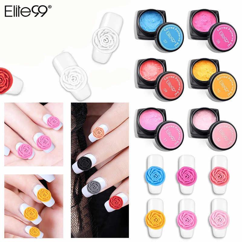 Elite99 12 สีแกะสลักรูปแบบ 3D เจลเล็บแกะสลักเจลเคลือบเงาการสร้างแบบจำลองประติมากรรมเจลสี Lacquer สำหรับเล็บออกแบบ